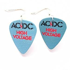 AC-dC-boucles d'oreilles femme-métal-médiator aCDC bleus rockmusik high voltage rouge