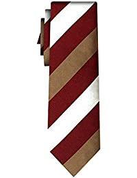 cravate soie rayée stripe burg gold white 1in