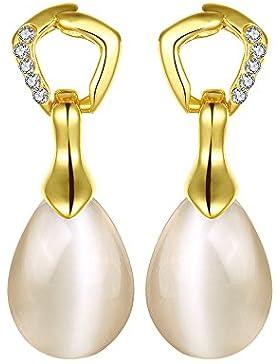 Styleziel Ohrring Ohrstecker Tropfen Mondstein Kristalle Gold 12 mm 1762