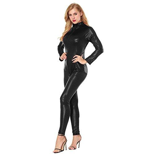 Babydoll Mujer Sexy LenceríA Lanskirt Body Pijamas Mujer Mono LenceríA Seductora de Cuero Artificial Entrepierna Abierta Body SiaméS Bodysuit Transparente CamisóN Ropa de Dormir (Negro, L)