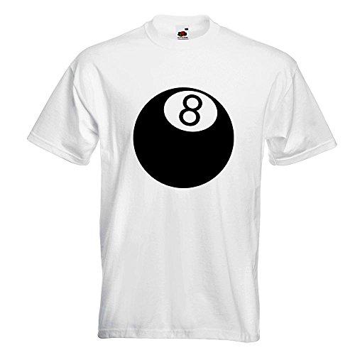 KIWISTAR - 8 Ball T-Shirt in 15 verschiedenen Farben - Herren Funshirt bedruckt Design Sprüche Spruch Motive Oberteil Baumwolle Print Größe S M L XL XXL Weiß
