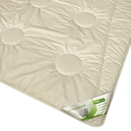 moebelfrank Bettdecke Leichte Ganzjahres-Decke Merino Schaf-Schurwolle Bett Melina, Größe:135x200 cm