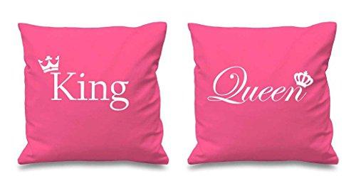 King et Queen Couronne Rose Housses de coussin 40,6 x 40,6 cm Couples Coussins Saint-Valentin anniversaire Boyfriend Girlfriend Chambre à coucher Coussin décoratif Maison