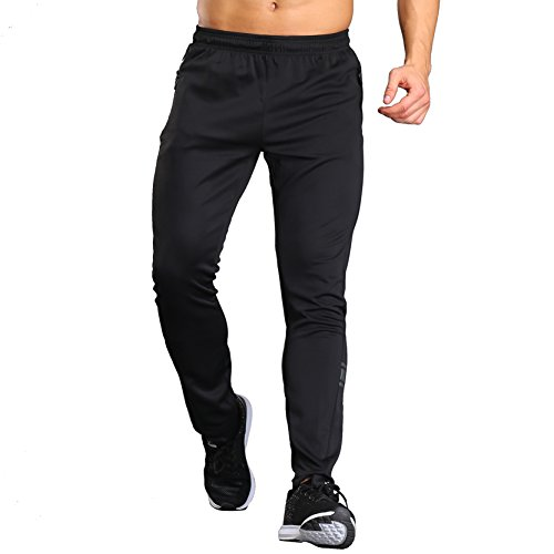 Männer Athletic Bodbuilding Aktiv Workout Jogger Hosen Mit Zipper Schwarz2 L (Stretch Co-gerippte)