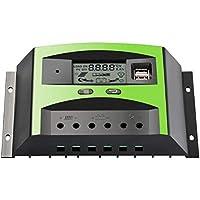 Sunix 30A Regulador Inteligente de Carga, Panel Solar Controlador Inteligente con Puerto USB Doble 12V / 24V PWM Pantalla LCD, Protección contra Sobrecarga, Compensación Automática de Temperatura