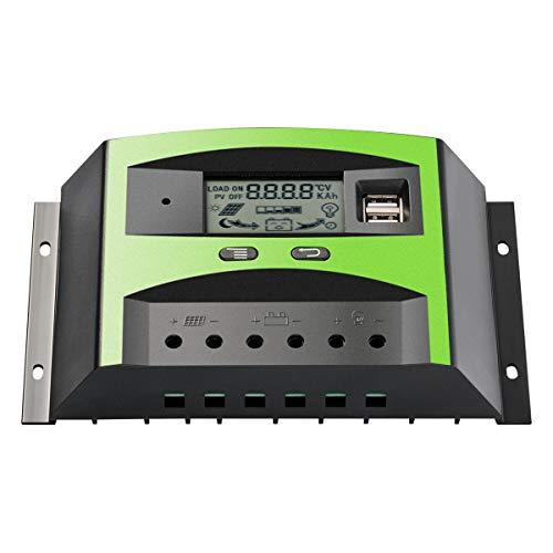 Sunix 30A Solar Laderegler Solarmodul Intelligenter Regler mit Dual USB Anschluss PWM LCD Display 12V/24V, für den Überlastschutz zu Hause Solaranlagen