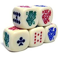Colored Poker Dice Pack - Set of 5 Dice by Brybelly