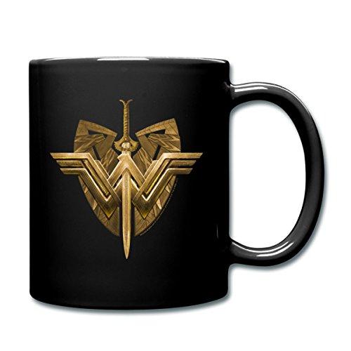 Spreadshirt Warner Bros Wonder Woman Logo Schild Schwert Tasse einfarbig, Schwarz