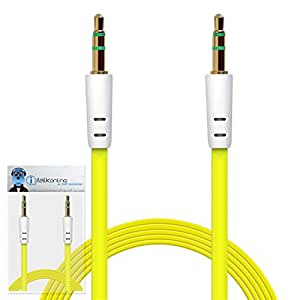 iTALKonline HTC One A9 Yellow FLAT 3.5mm Gold Plated Jack to Jack Male AUX Auxiliary Stereo Jack Connection Cable Lead Wire