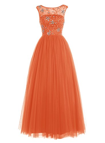 Bbonlinedress Robe de cérémonie Robe de bal en tulle emperlée longueur ras du sol Orange