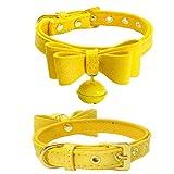 Hmeng Hundehalsband, Hunde Katze Welpen Wasserdichte Niedlich Bowknot Nieten Halsband Halsbänder Verstellbar Leder Schnalle mit Bell Halskette für Haustier Hunden Katzen (M, Gelb)