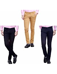 Nimegh Black, Navy Blue And Wine Color Cotton Casual Slim Fit Trouser For Men's (Pack Of 3)