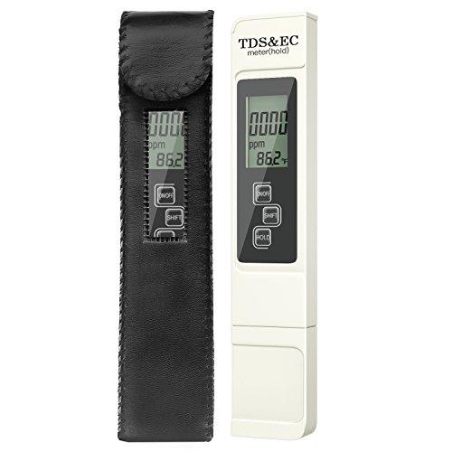 Housolution Digital TDS Meter, tragbare Wasserqualität Reinheit Tester Stift mit TDS, EC & Temp Funktion für Haushalt Trinkwasser, Hydroponik, Aquarium, Schwimmbad, Spa - weiß