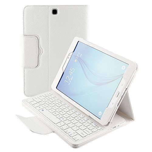 Hülle für Samsung Galaxy Tab A 9.7 SM-T550 Smart Cover Schutzhülle Premium Leder Folio Magnetische Abnehmbare Wireless Tastatur mit Standfunktion Auto Sleep/Wake Slim Flip, weiß ()