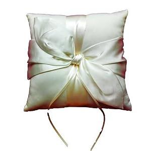 LadyMYP© Elegantes Ringkissen mit großer Schleife: Ivory/Weiß