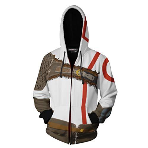 SDKHIN Kratos Hoodies 3D gedruckte Zipper Cardigan Unisex Sweater Rollenspiele Captain Hoodie Sportswear Langarm Fashion Casual (Kratos Cosplay Kostüm)