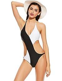 Alicemall Bikini Deportivo Mujer de Una Pieza Bañador Push-Up con Relleno Escote Triángulo