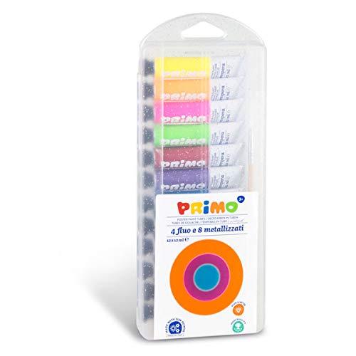 PRIMO 450T12FMP - Juego de Pinturas para niños (Tubos de Aluminio de 12 ml, 12 4 Colores neón y 8 Colores Metal)