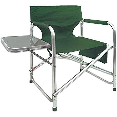 Silla de director plegable con mesa para playa o camping verde de aluminio Garden