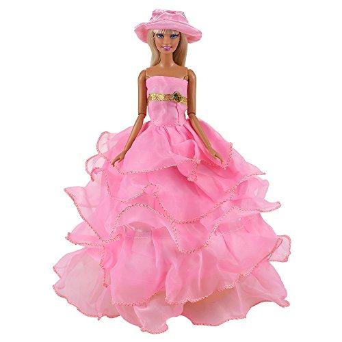 VILLAVIVI Abendkleid Kleidung Hochzeitskleid Kleider Dress Rosa mit Hut für Barbie Puppen Doll