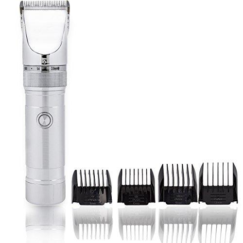 Haarschneidemaschine Profi mit Akku, Keramikklinge und 4 Aufsätzen im ergonomischen Silber-Design