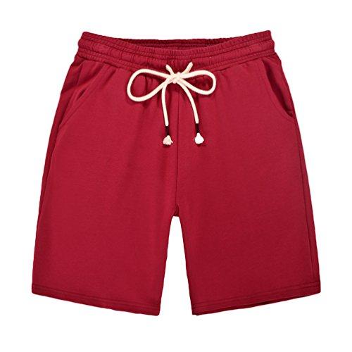 Dooxi Damen Casual Lose Gerade Shorts Sommer Sport Drawstring Kurze Hosen Rot L (Drawstring Shorts Baseball)