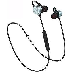 Auricolari Bluetooth Wireless, E2 Cuffie IPX6 In-Ear Magnetico Stereo, Auricolare Ultraleggere con CVC6.0 Noise Cancelling Microfono, Durata Riproduzione 8 Ore, Ideali per Sport e Allenamenti (Grigio)