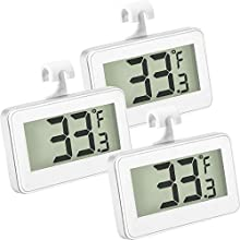Refrigerator Thermometer Digital Freezer Thermometer Room Fridge Thermometer LCD Display Waterproof Freezer Thermometer with Hook for Temperature Reading (3 Pieces)