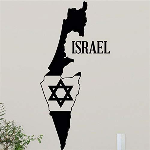Waofe Israël Carte Étoile De David Sticker Mural Juif Étoile Home Decor Sticker Mural Judaïsme Design Mural Art Teen Garçon Chambre Décoration Murale 42 * 90 Cm