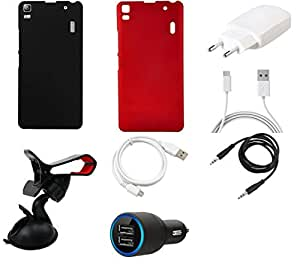 NIROSHA Cover Case Charger USB Cable Mobile Holder for Lenovo K3 Note - Combo