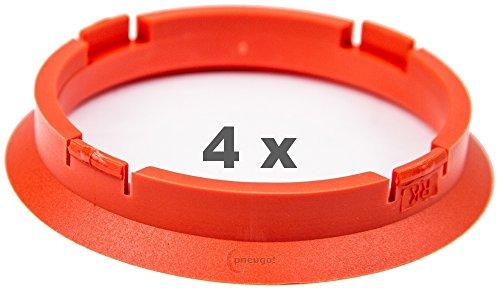 4 x Zentrierringe 74.1 mm auf 66.6 mm orange