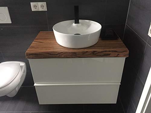 Waschtisch Zebrano massiv, mit grober Baumkante
