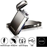 AUTSCA Mechero Eléctrico, USB Encendedor Doble Arco Eléctricos con luz LED Azul Carga Rápida de Resistente al Viento sin Llama (Cable USB,Cepillo de Limpieza y Caja de Regalo Incluidos)