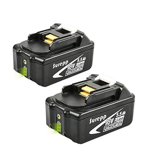 2xSurepp BL1860 18V 5.5Ah Lithium-Ionen Akku Ersatzakkus Ersatz batterie Kompatibel mit Makita BL1860B BL1850 BL1850B BL1815 194205-3 194309-1 LXT400 Werkzeugbatterien mit Indikator