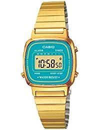 CASIO La670Wega-2Ef - Reloj de mujer de cuarzo, correa de acero inoxidable color oro