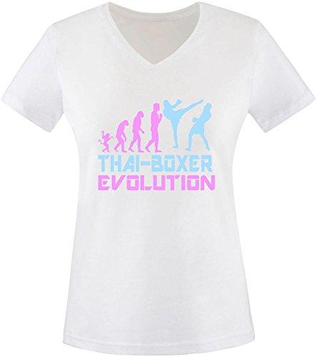 EZYshirt® Thai Boxing Evolution Damen V-Neck T-Shirt Weiss/Rosa/
