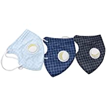 House of Quirk Pack of 3 Adult Face Mouth PM 2.5 Protection Gauze Mask for Adult Mask Anti Dust Unisex Mask Non-Woven Respirator Valve - Multicolor