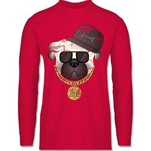 Shirtracer Hunde - Bad Boy Mops Vintage - Herren Langarmshirt Rot