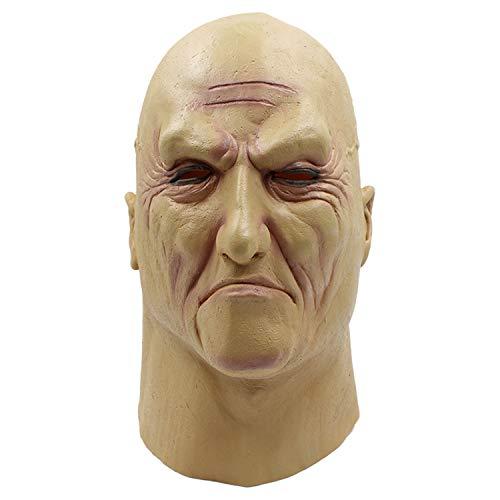 YXXHM- Halloween Ghost Festival Unheimlich Horror Black Society Boss Lustige Latex Kopfbedeckung Old Man Mask