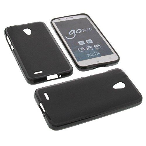 foto-kontor Tasche für Alcatel One Touch Go Play Gummi TPU Schutz Hülle Handytasche schwarz
