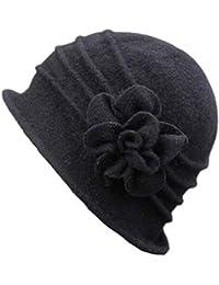 Beanie Mujer Invierno Elegante Floral Cap Bucket Cloche Beret Hat Moda  Estilo Años 20 Moderno Sombrero 818e4ca2ab4