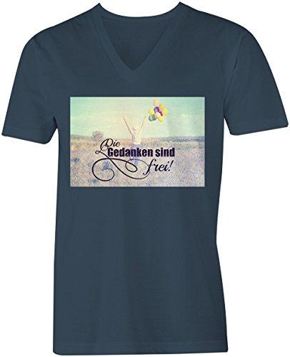 Die Gedanken Sind Frei 2 ★ V-Neck T-Shirt Männer-Herren ★ hochwertig bedruckt mit lustigem Spruch ★ Die perfekte Geschenk-Idee (03) dunkelblau