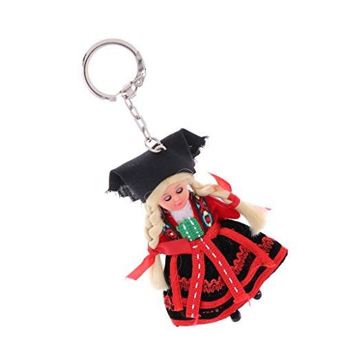 (MagiDeal 3 Zoll Nationalität Puppe Anhänger Ethnische Minipuppe Schlüsselanhänger Taschenanhänger, Ideales Geschenke für Freude und Famile - H)