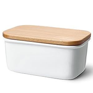 Sweese 301.101 Butterdose Porzellan mit Holzdeckel, für 250 g Butter, Groß, Weiß