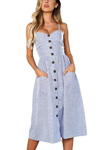 Happy Sailed Womens Striped Spaghetti Strap Button Down Swing Midi Dress with Pockets