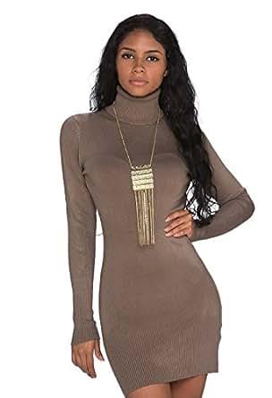 927 Fashion4Young Damen Strick Minikleid LongPullover Pullover Long Rollkragen in 6 Farben 2 Größen (S/M 34/36, Hellbraun)
