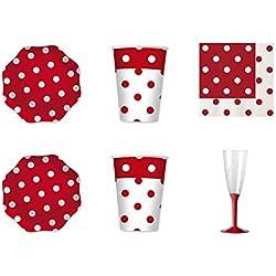 Party store web by casa dolce casa coordinado Lunares Rojos de Mesa para para Fiestas y Celebraciones Kit n.19-(30Platos,30Vasos,40servilletas,40-Copa con Base roja)