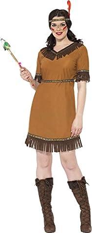 Indianische Frau Kostüm Braun mit Kleid Gürtel und Stirnband , Small