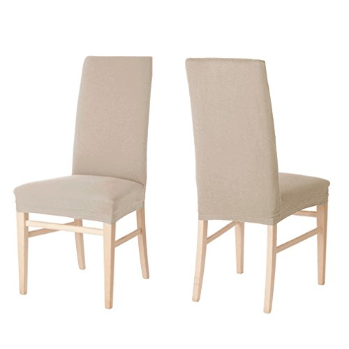 2 x Auralum® Beige Chair Cover Stretch Elastic Chair Covers Fine Velvet Dining Chair Slipcovers Twilled Pattern