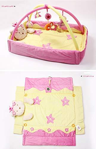 Hängende Bogen (PUDDINGT® 3 in 1 Baby Play Music Mat - Kleinkind | Kleinkinder | Neugeborenen-Teppich für Fitness, Spielen, 5 hängende Spielzeuge, 2 Abnehmbare Bögen,Pink)